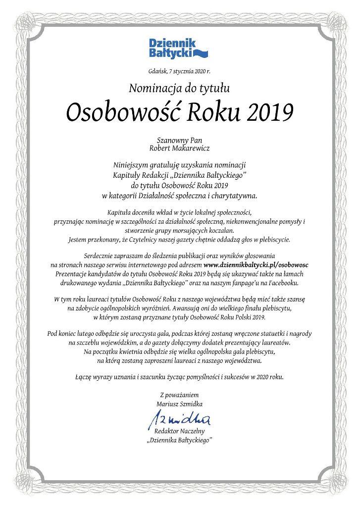 Nominacja dotytułu Osobowość Roku 2019