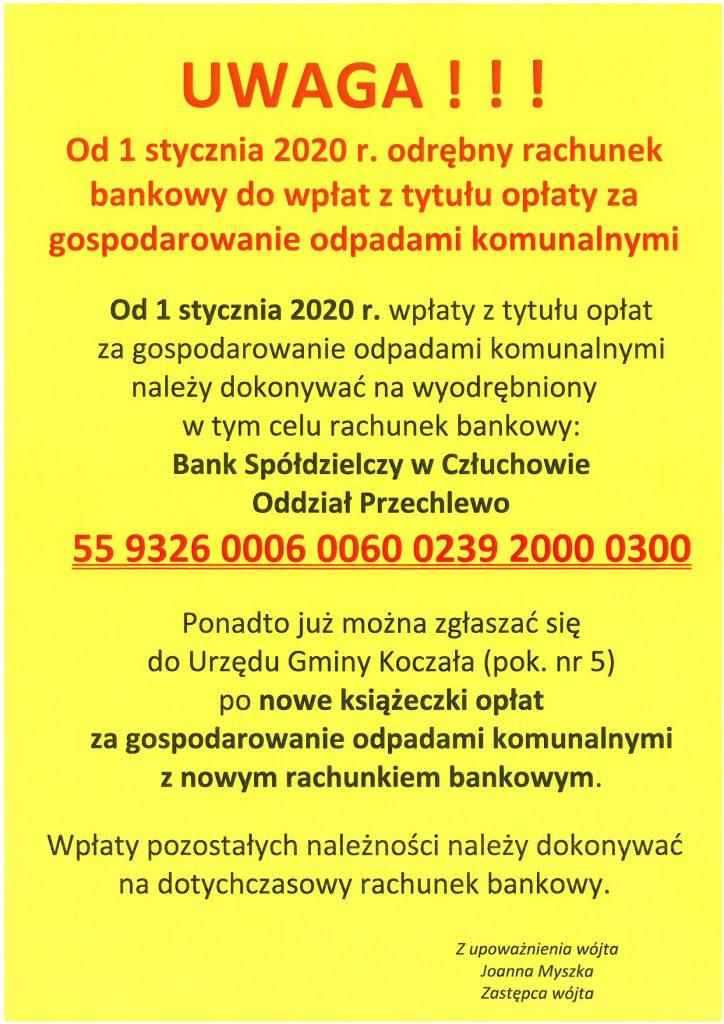 Zmiana numeru konta bankowego dowpłat ztytułu opłaty zagospodarowanie odpadami komunalnymi