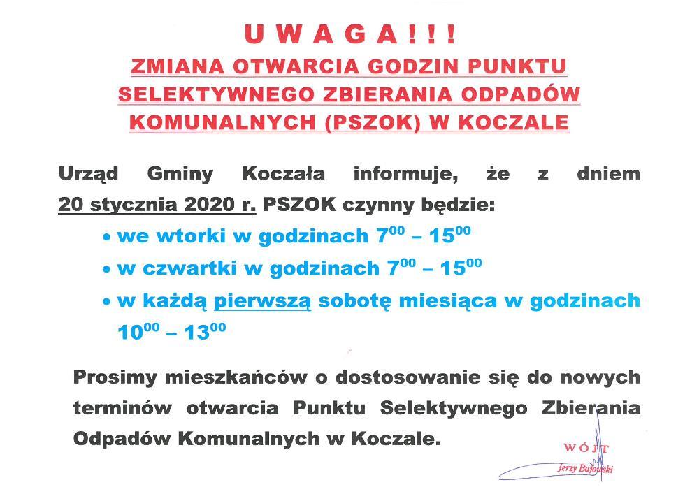 Zmiana otwarcia godzin Punktu Selektywnego Zbierania Odpadów Komunalnych wKoczale