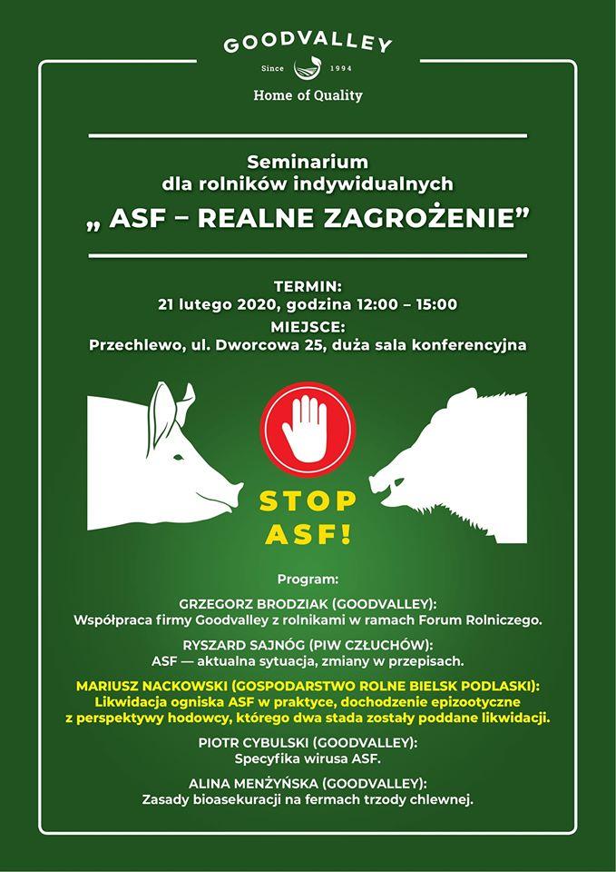 """Seminarium dla rolników indywidualnych """"ASF - REALNE ZAGROŻENIE"""""""