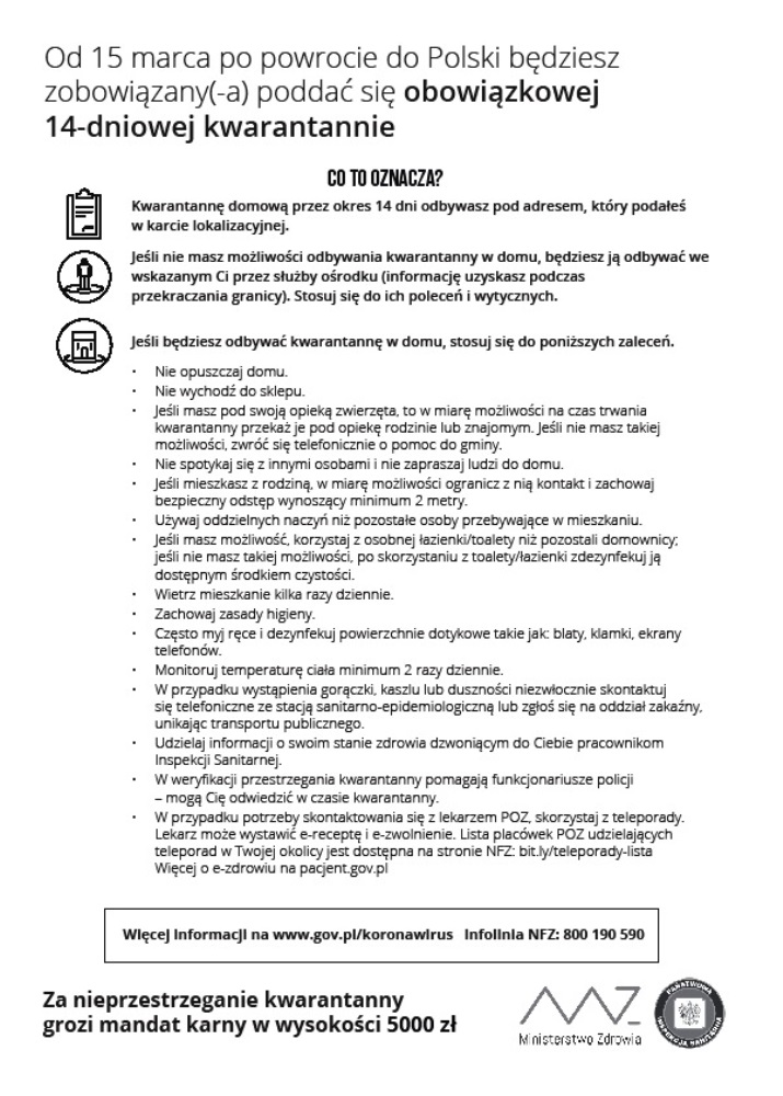 Zasady kwarantanny dla osób powracających doPolski