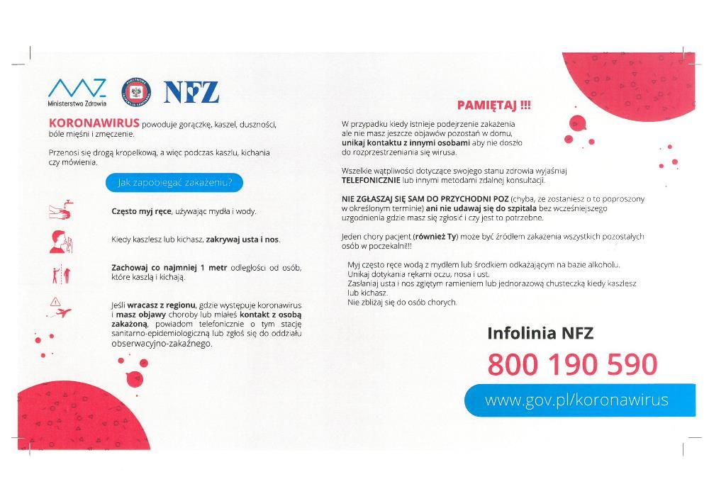 Plakat informacyjny koronawirus