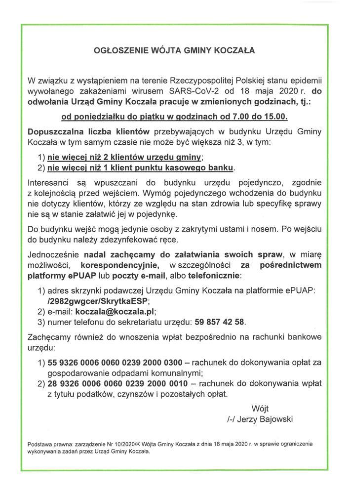 Nowe godziny pracy urzędu gminy i zasady obsługi klientów