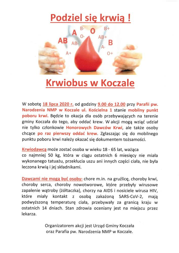 Mobilny punkt poboru krwi w Koczale