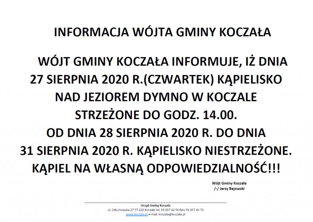 Informacja Wójta Gminy Koczała