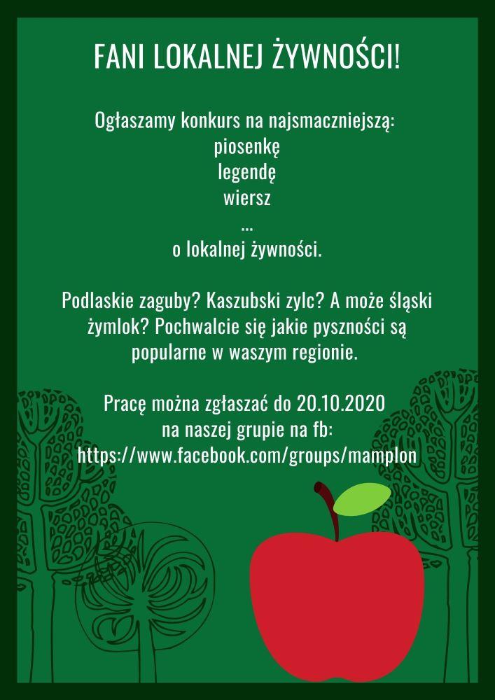 plakat konkursu lokalna żywność wtwórczości artystycznej