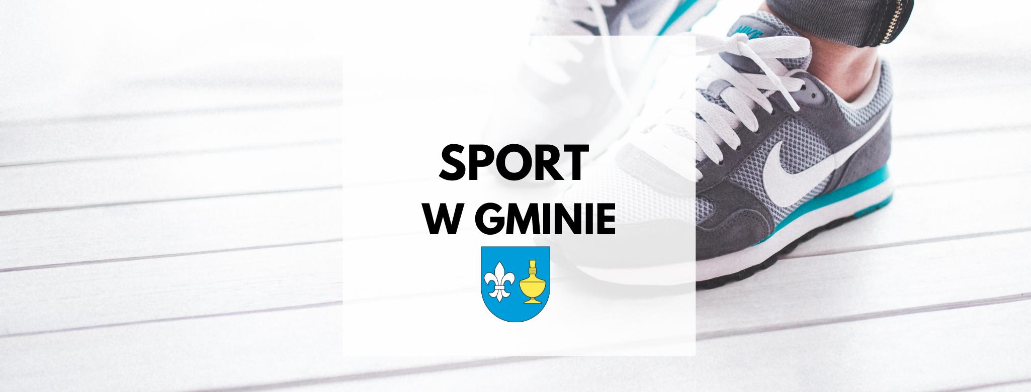 nagłówek graficzny o treści: sport w gminie. Grafika w tle: sportowe buty. Dodatkowa grafika: herb gminy Koczała