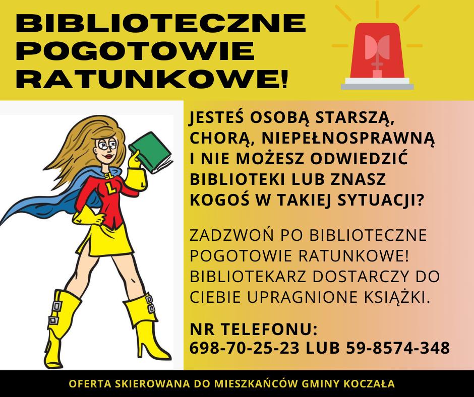 plakat Bibliotecznego Pogotowia Ratunkowego.