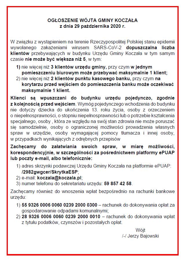 ogłoszenie wójta gminy Koczała wsprawie obsługi klientów urzędu gminy ibanku