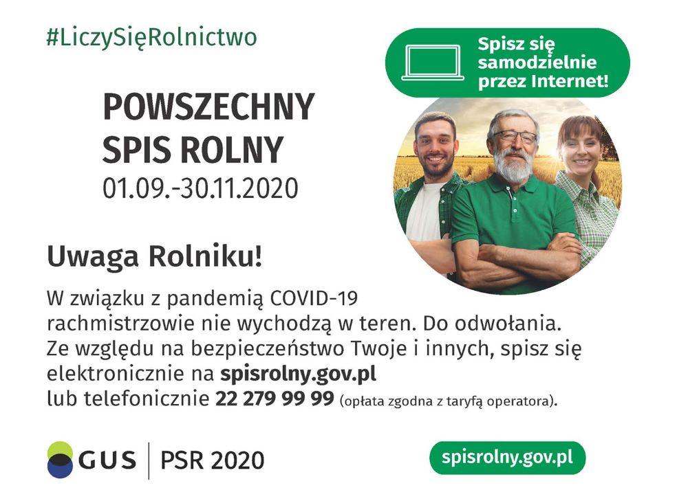 grafika otreści: Uwaga Rolniku! Wzwiązku zpandemią COVID-19 rachmistrzowie niewychodzą wteren. Doodwołania. Zewzględu nabezpieczeństwo Twojeiinnych , spisz się elektronicznie naspisrolny.gov.pl lub telefonicznie 22 279 99 99