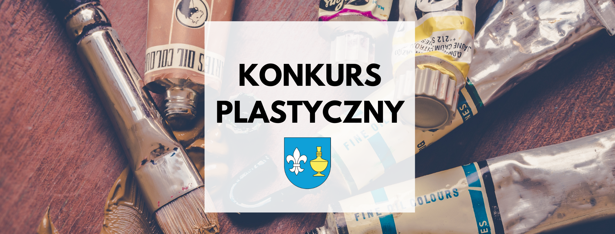nagłówek graficzny o treści: konkurs plastyczny, grafika w tle: pędzel, tubki z farbami. dodatkowa grafika: herb gminy Koczała