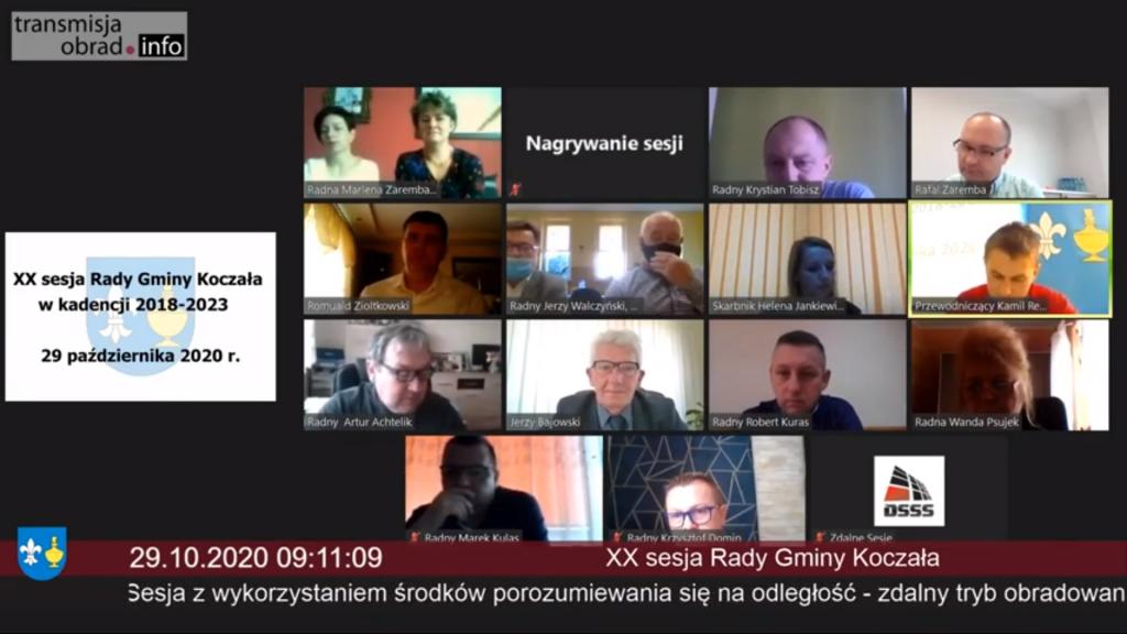 Zdjęcie przedstawiające widok wideokonferencji - zdalnych obrad Rady Gminy Koczała.