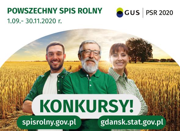 Grafika otreści: Powszechny Spis Rolny od1 września do30 listopada 2020 r. Konkursy! spisrolny.gov.pl, gdansk.stat.gov.pl