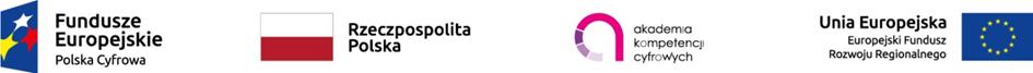 logotypy wkolejności: Fundusze Europejskie Polska Cyfrowa, Rzeczpospolita Polska, Akademia Kompetencji Cyfrowych, Unia Europejska Europejski Fundusz Rozwoju Regionalnego