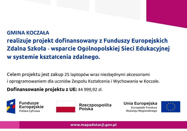 Gmina Koczała realizuje projekt Zdalna Szkoła.