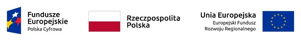logotypy: Fundusze Europejskie Polska Cyfrowa, Rzeczpospolita Polska, Unia Europejska Europejski Fundusz Rozwoju Regionalnego