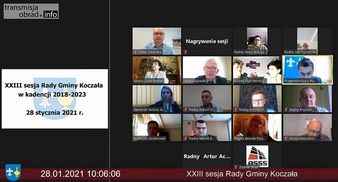 Zdjęcie przedstawiające widok wideokonferencji – zdalnych obrad Rady Gminy Koczała.