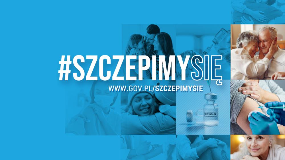 Treść: szczepimy się, www.gov.pl/szczepimysie, grafiki wtle przedstawiające ampułkę zeszczepionką, proces szczepienia, szczęśliwych ludzi, którzysię przytulają
