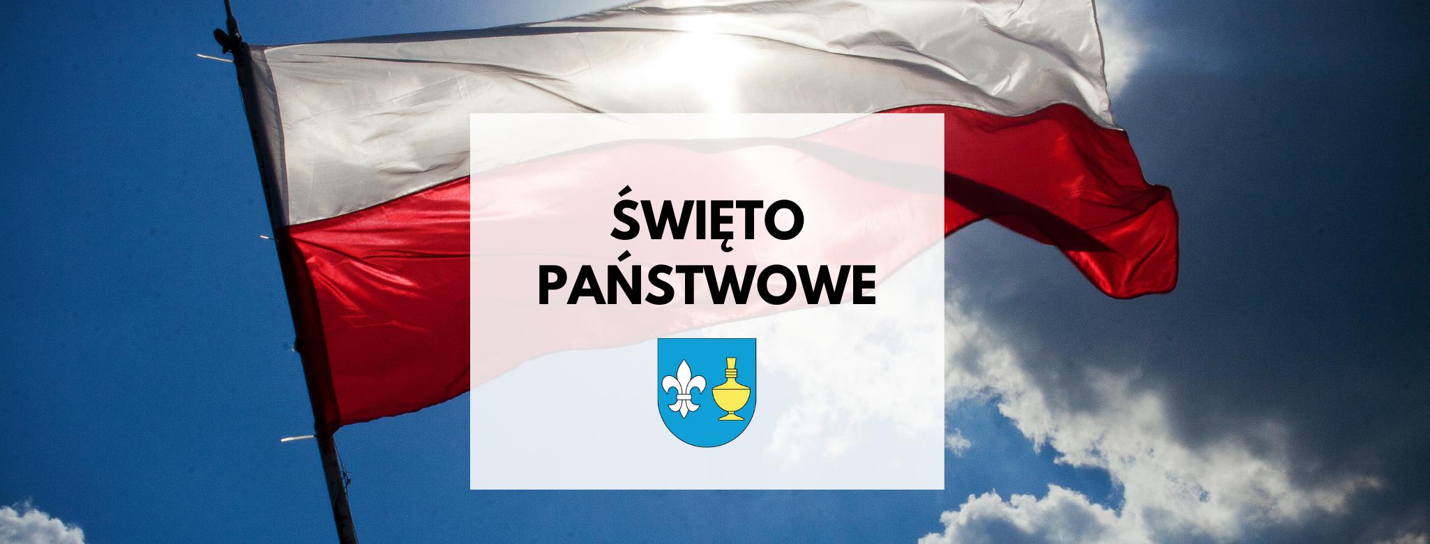 Nagłówek graficzny o treści: święto państwowe. W tle flaga Polski, słoneczne niebo, herb Gminy Koczała