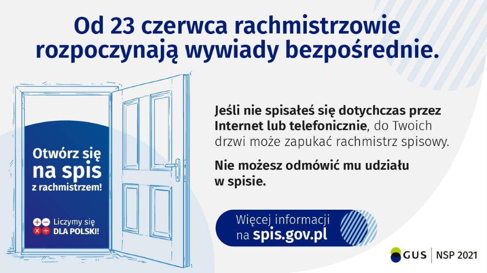 Treść grafiki: Od23 czerwca rachmistrzowie rozpoczynają wywiady bezpośrednie. Jeśli niespisałeś się dotychczas przezinternet lub telefonicznie, doTwoichdrzwi może zapukać rachmistrz spisowy. Niemożesz odmówić mu udziału wspisie. Grafika otwartych drzwi, wewnątrz tekst: Otwórz się naspis zrachmistrzami. Liczymy się dla Polski. więcej informacji naspis.gov.pl. Nadole logotyp Głównego Urzędu statystycznego.