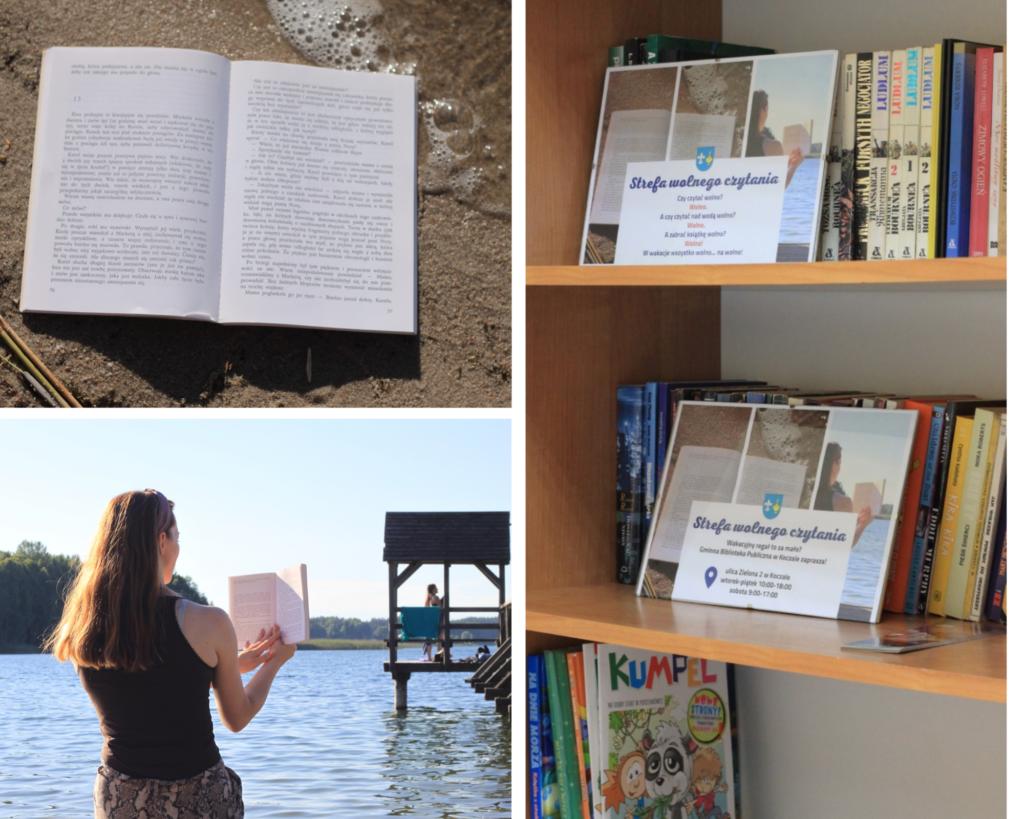 Kolaż trzech fotografii: otwarta książka położona nabrzegu plaży, kobieta czytająca książkę napomoście, wtle jezioro Dymno, widok naksiążki naregale.